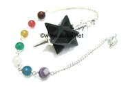 Picture of Black Agate Merkaba Metal Mounted Pendulum with Chakra Chain