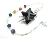 Picture of Black Obsidian Merkaba Metal Mounted Pendulum with Chakra Chain
