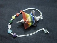 Picture of Bonded Chakra Merkaba Metal Mounted Pendulum with Chakra Chain