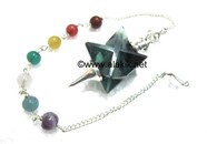 Picture of Green Flourite Merkaba Metal Mounted Pendulum with Chakra Chain