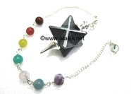 Picture of Hematite Merkaba Metal Mounted Pendulum with Chakra Chain
