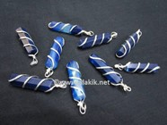 Picture of Blue Onyx Wire Wrapped Pencil Pendants