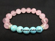 Picture of Rose Quartz  Turquoise 10mm Combi Bracelet