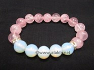 Picture of Rose Quartz Opalite 10mm Combi Bracelet