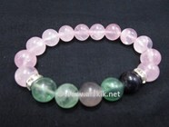 Picture of Rose Quartz Fluorite 10mm Combi Bracelet