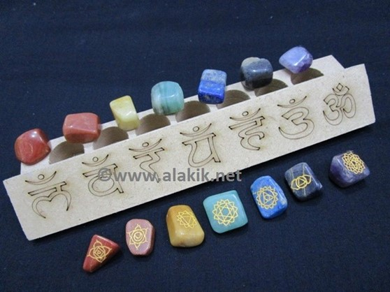 Picture of Sanskrit Laser MDF Box with Engrave Chakra Tumble set
