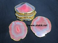 Picture of Red Onyx Coasters Gold Plated
